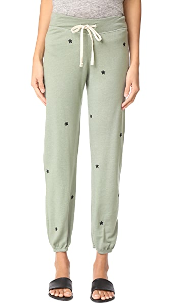 SUNDRY Star Patches Sweatpants - Olive