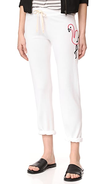 SUNDRY Big Flamingo Sweatpants In White