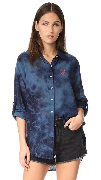 SUNDRY Toi Et Moi Oversized Shirt - Ink Tie Dye