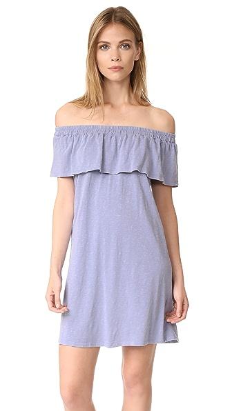 SUNDRY Ruffle Dress In Denim Pigment