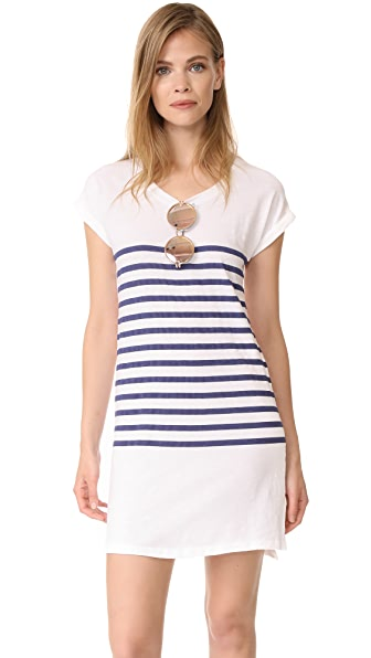 SUNDRY Stripes Roll Sleeve Dress - White