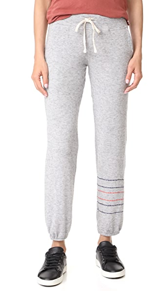 SUNDRY Embroidered Stripes Pocket Sweatpants In Heather Grey