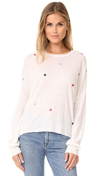 SUNDRY Star Patches Crew Neck Sweater - Cream
