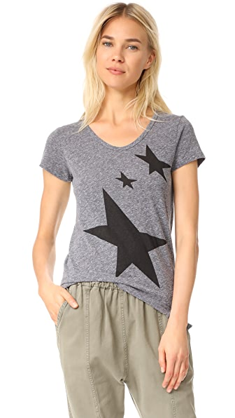 SUNDRY Stars Rotated Seam Tee In Heather Grey