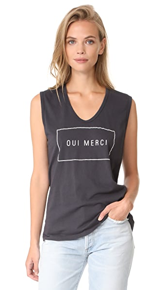 SUNDRY Oui Merci Muscle Tank - Soft Black