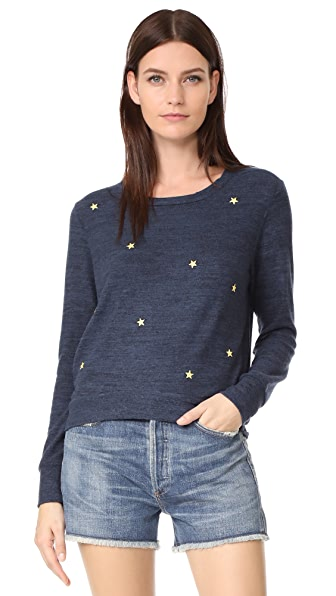 SUNDRY Star Patches Cropped Sweatshirt