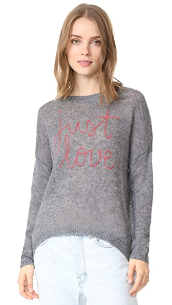 SUNDRY Just Love Sweater In Charcoal