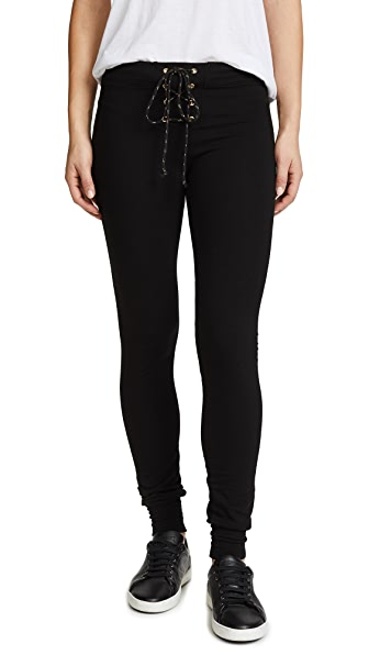 SUNDRY Lace Up Sweatpants In Black