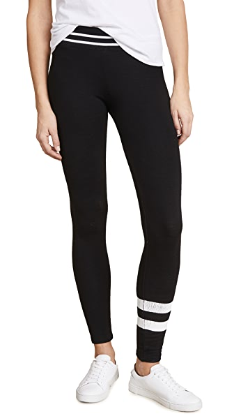 SUNDRY Yoga Pants with Stripes In Black
