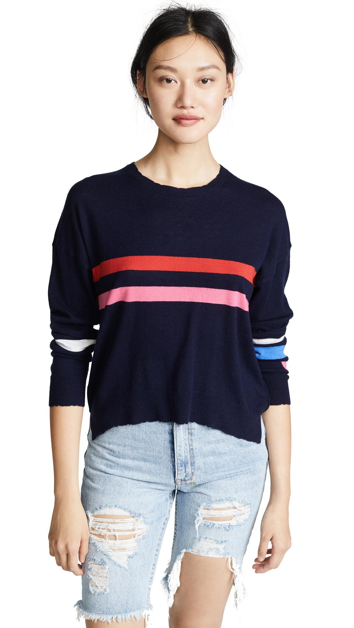 SUNDRY Stripes & Heart Sweater
