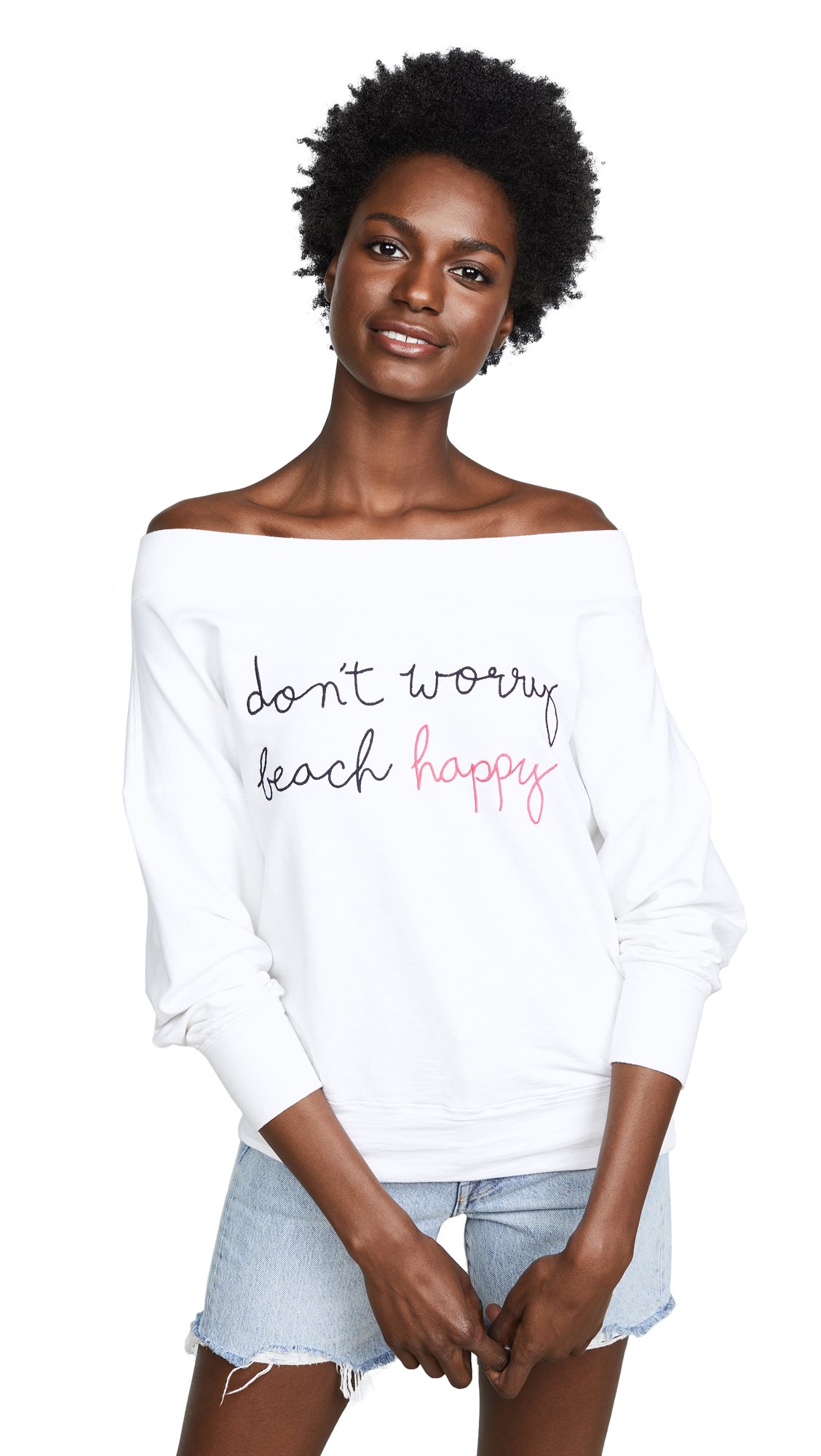 SUNDRY Beach Happy Off Shoulder Pullover