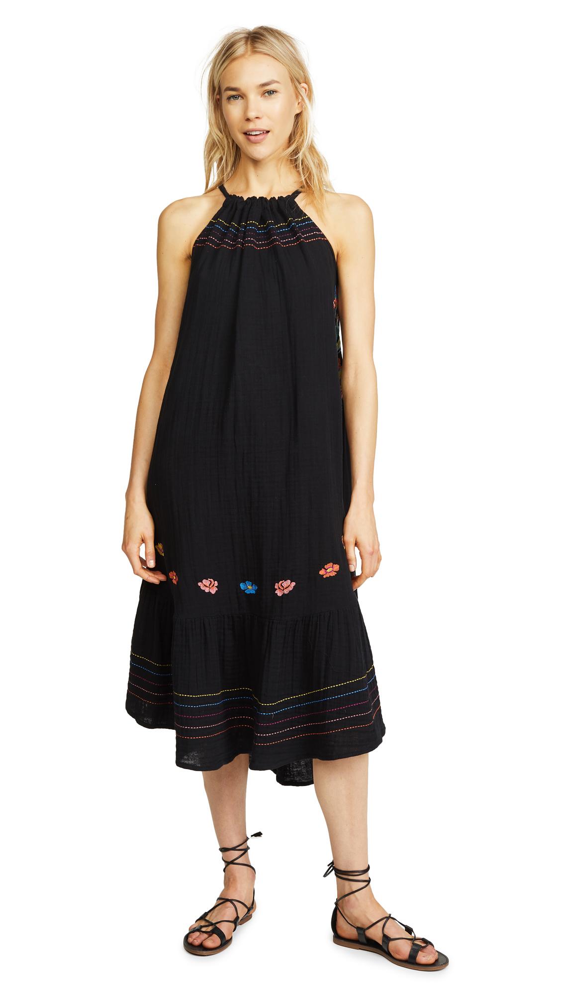 SUNDRY Shirred Midi Dress