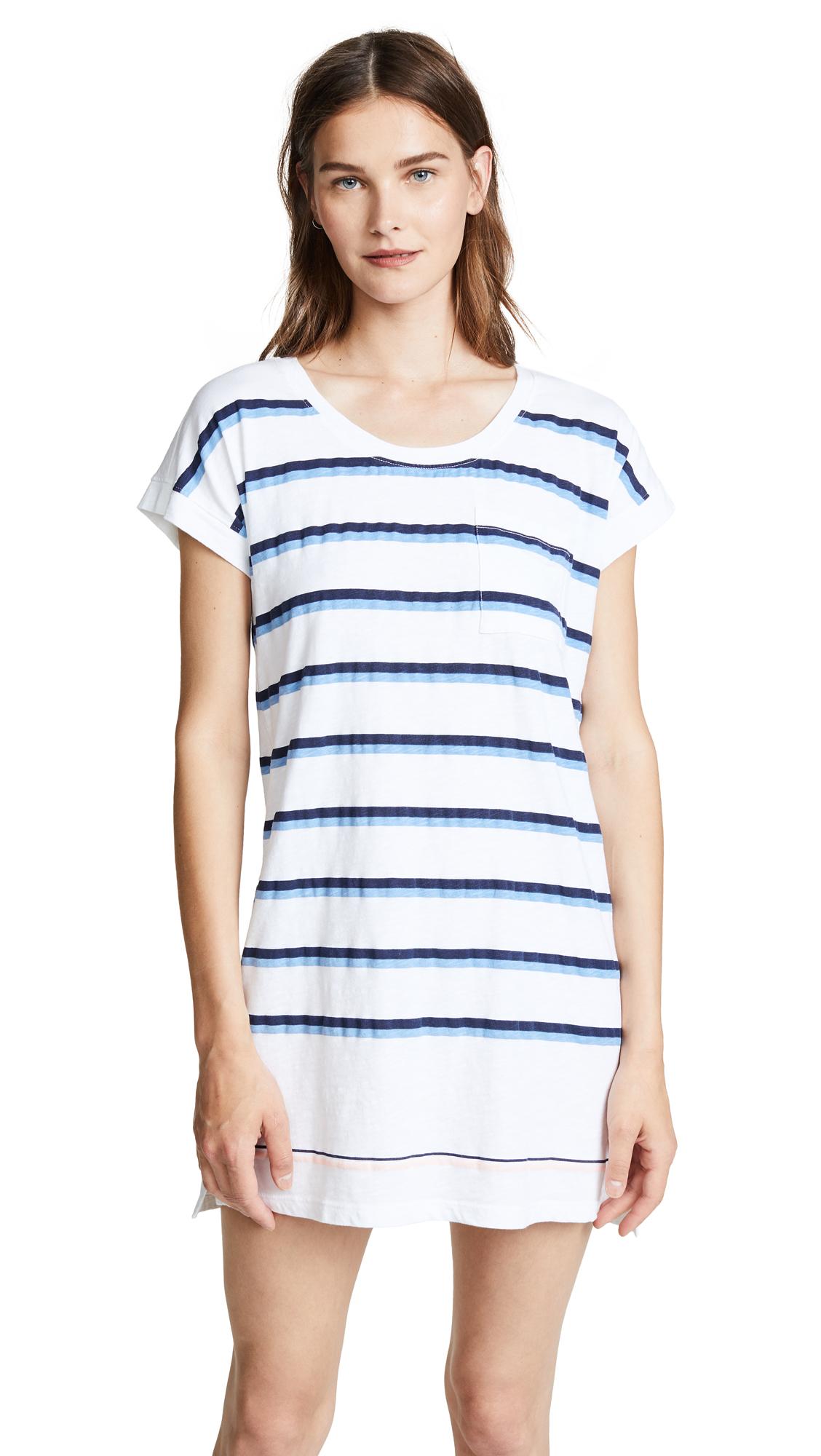SUNDRY Stripes Roll Sleeve Dress In White