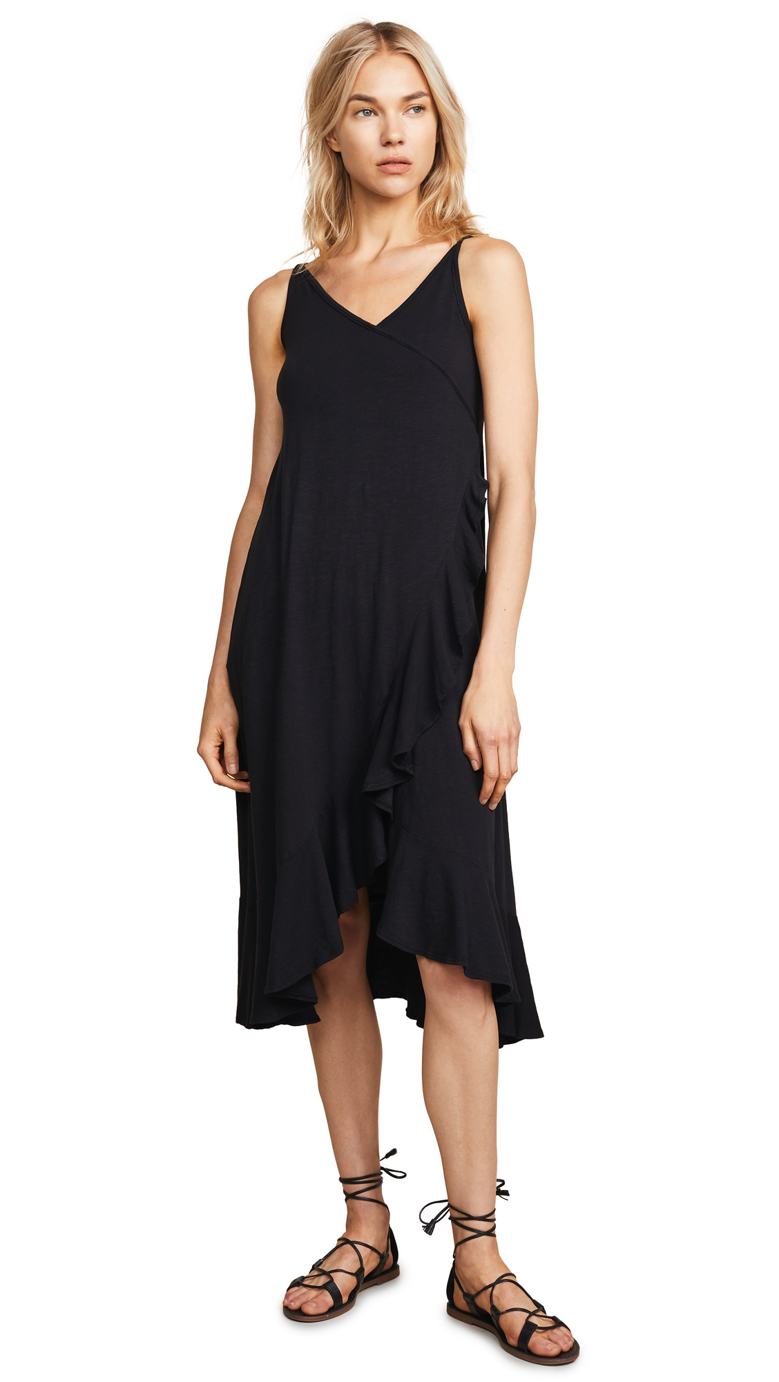 SUNDRY Crossover Ruffle Midi Dress
