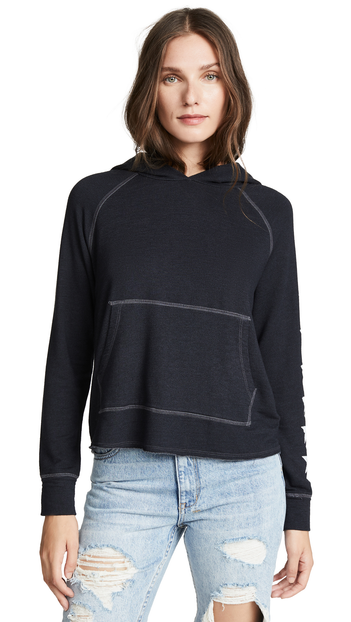 SUNDRY Side Stars Cropped Hoodie In Soft Black
