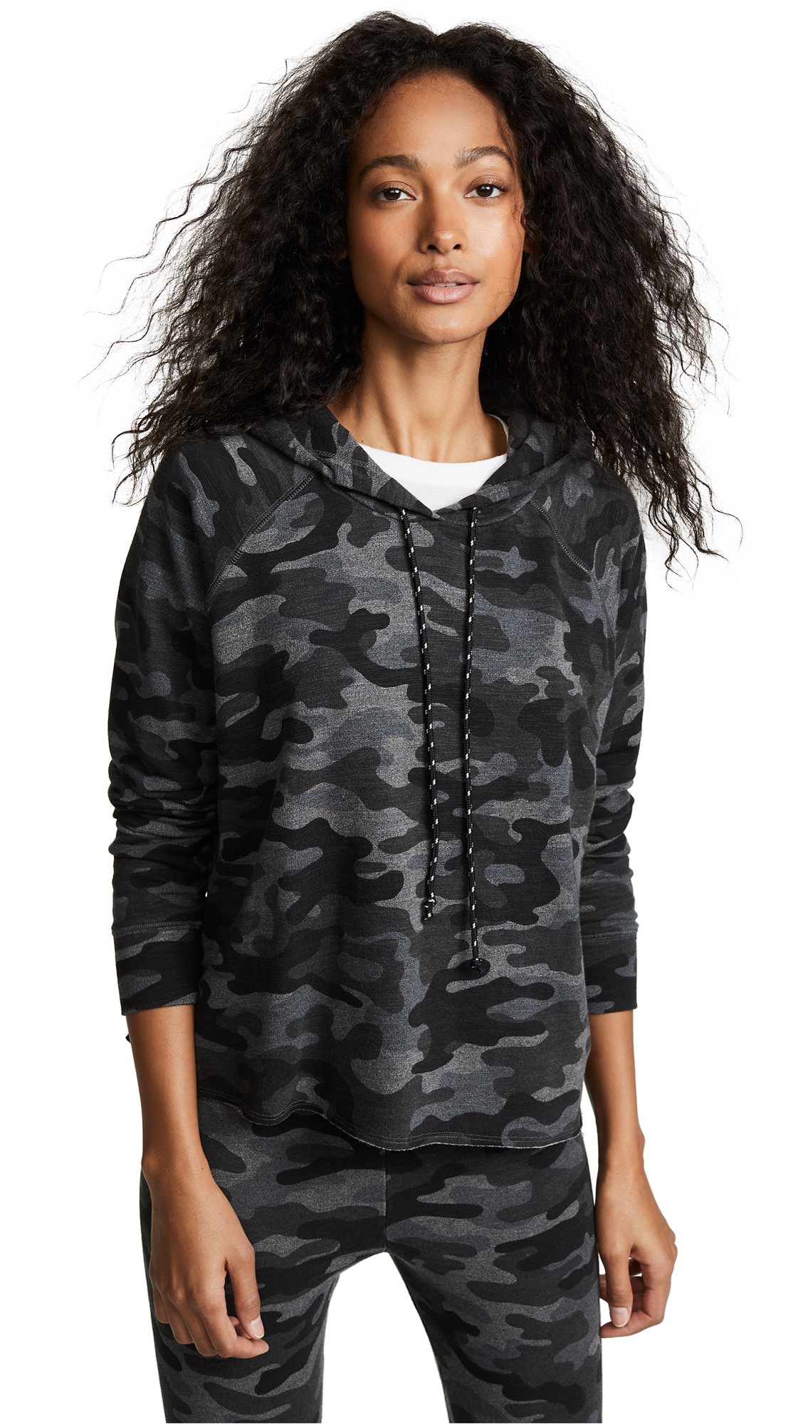Camo-Print Cropped Pullover Hoodie in Charcoal