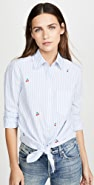 SUNDRY Tie Front Button Down