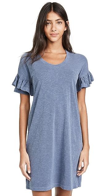 SUNDRY Short Sleeve Ruffle Dress
