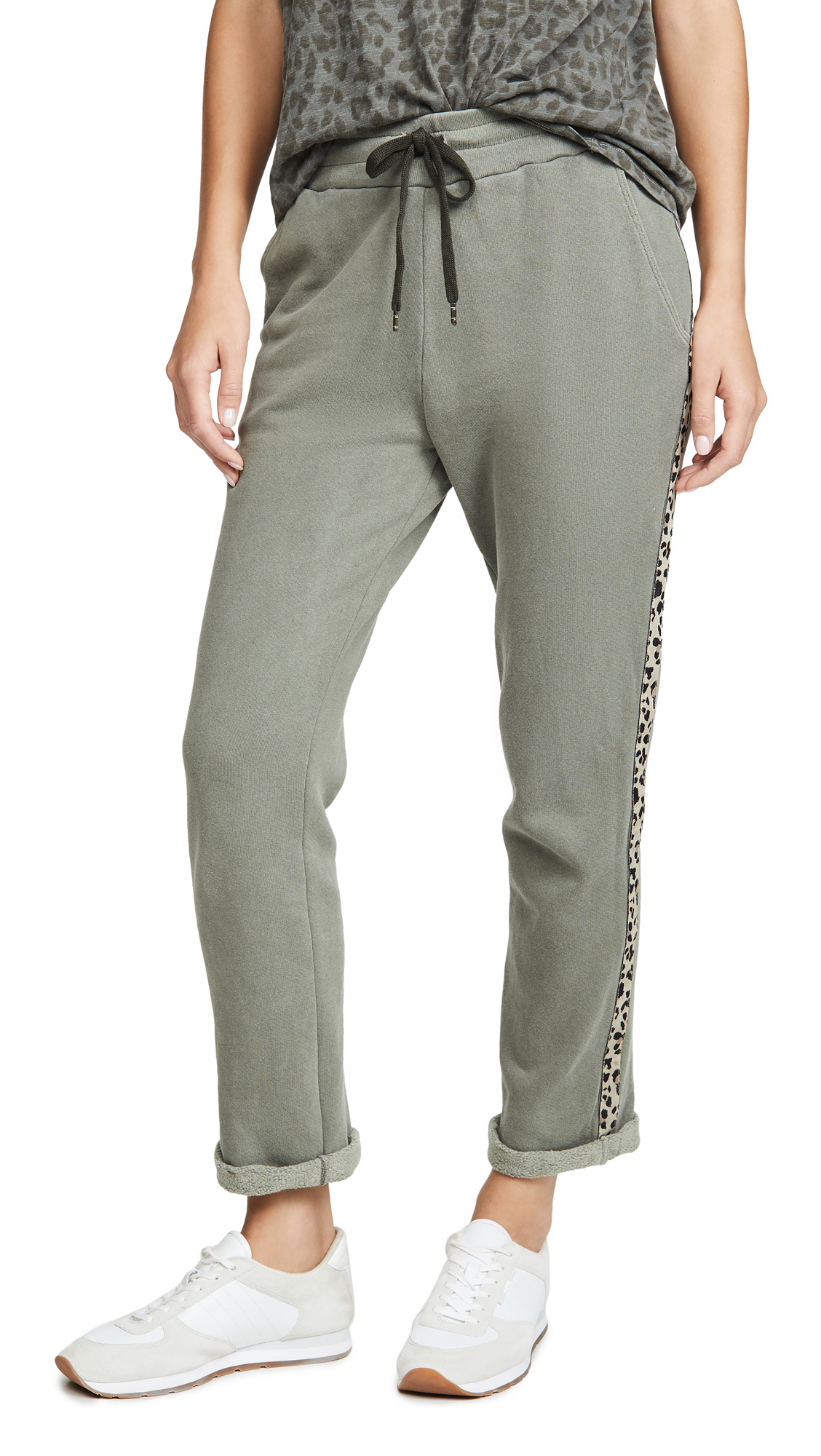 Buy SUNDRY online - photo of SUNDRY Trouser Sweatpants with Leopard Trim