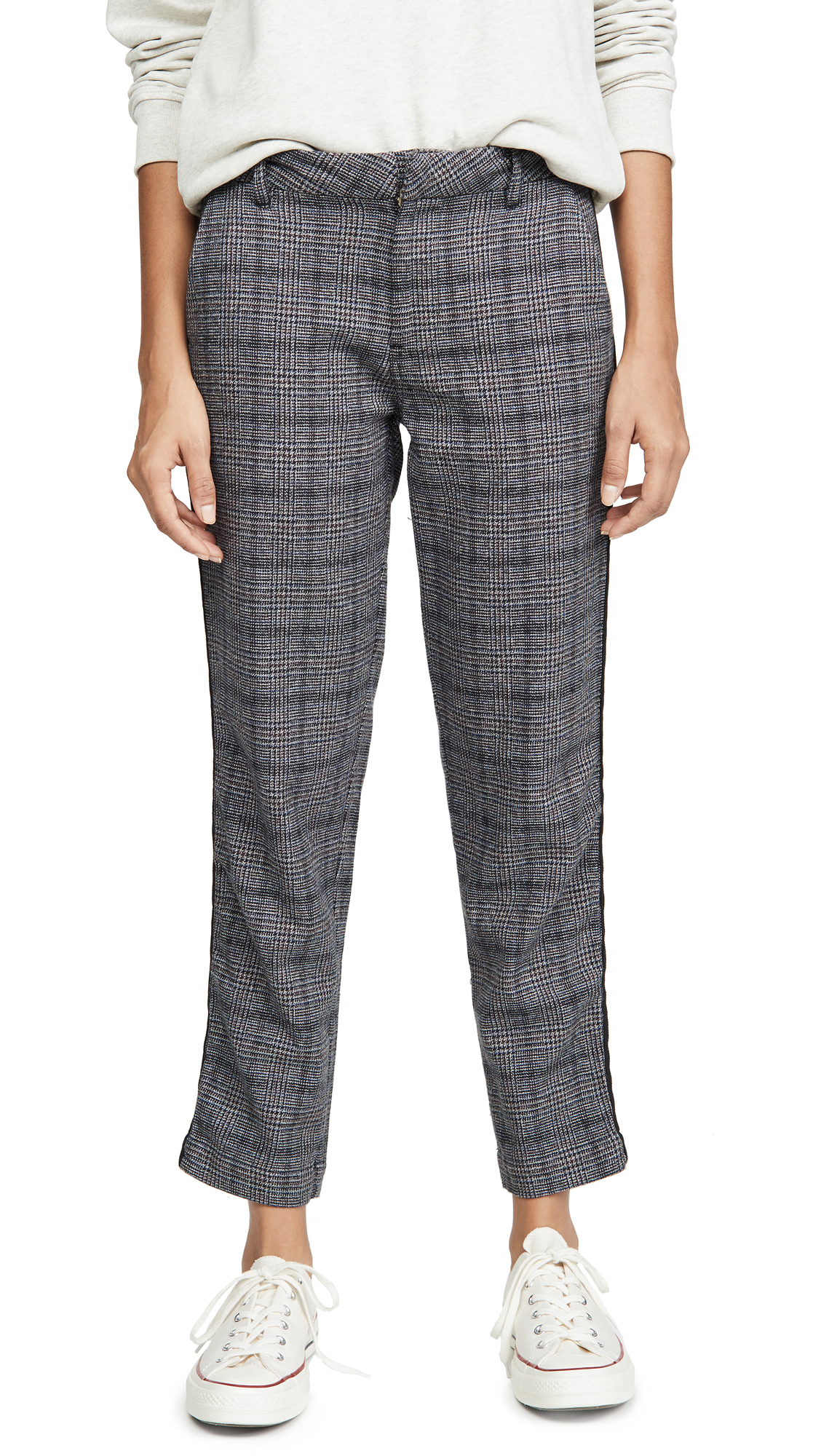 Buy SUNDRY online - photo of SUNDRY Plaid Clean Straight Trousers