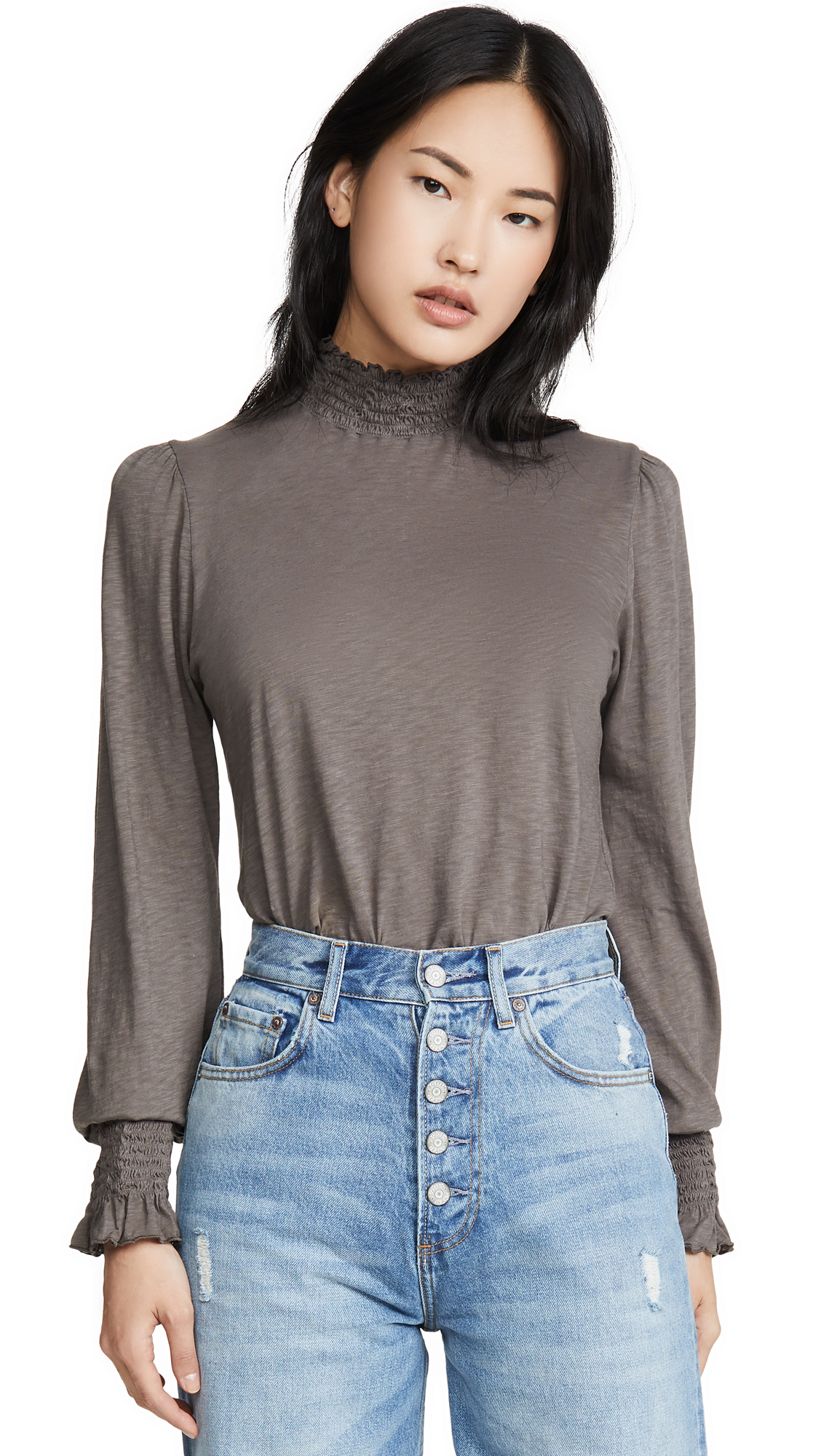 Buy SUNDRY online - photo of SUNDRY Smocked Mock Neck Top with Puff Sleeves