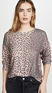 SUNDRY Animal Print Drapey Sweater