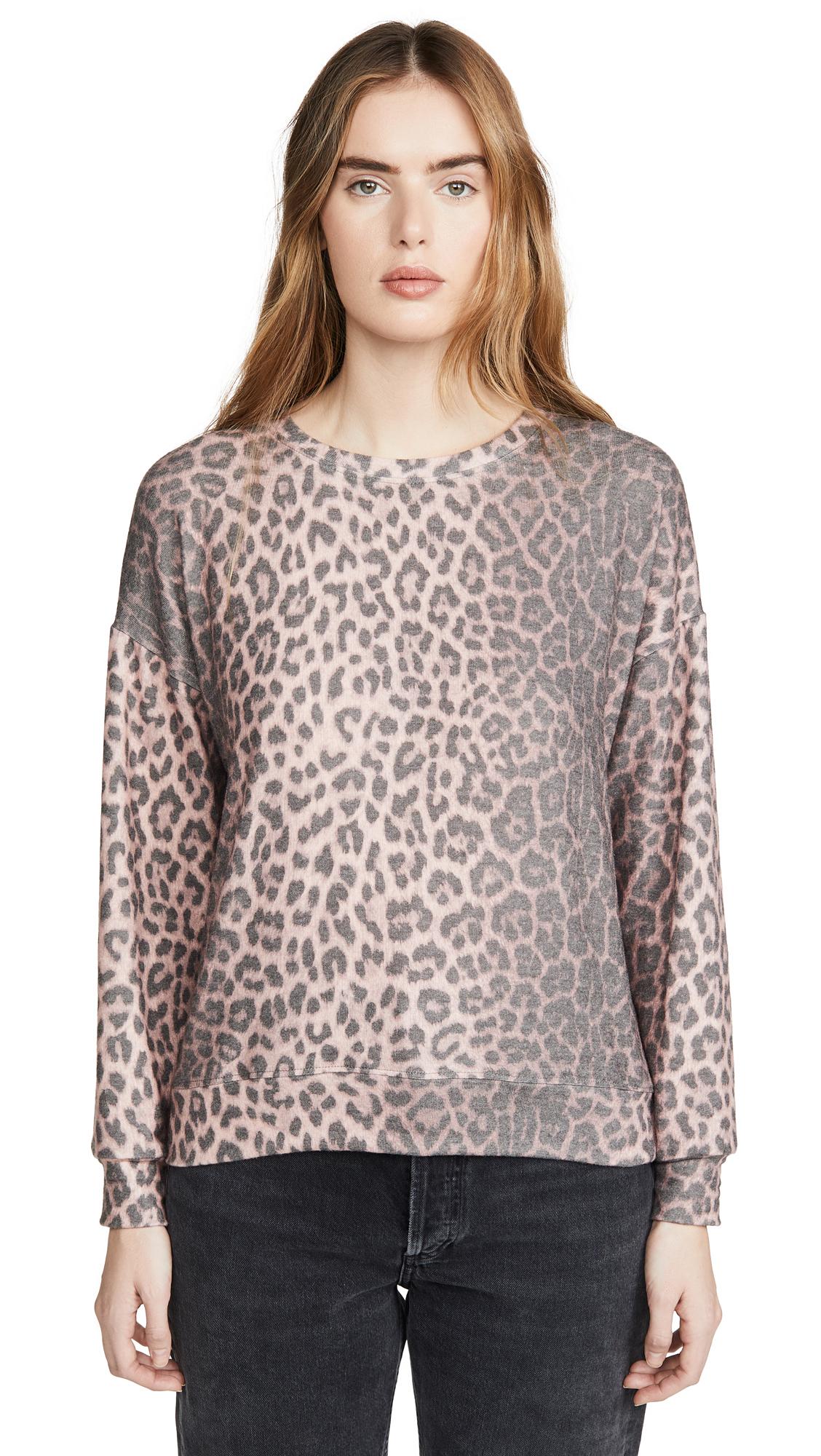Buy SUNDRY online - photo of SUNDRY Animal Print Drapey Sweater