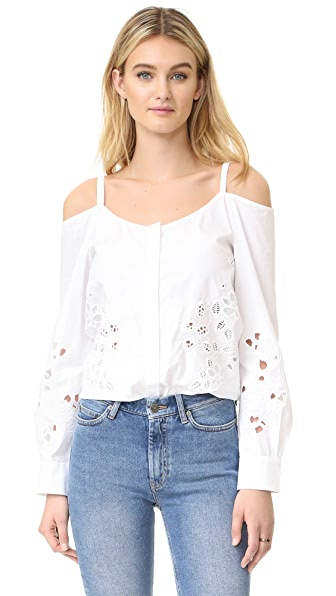 SUNO Off Shoulder Button Shirt