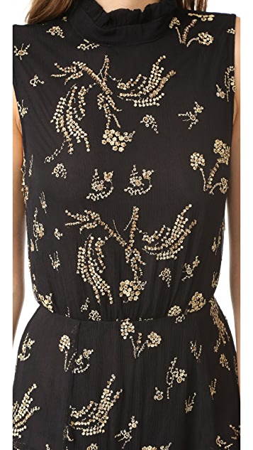 SUNO Embroidered Ruffle Dress