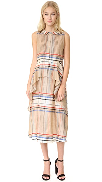 SUNO Cascade Peplum Dress