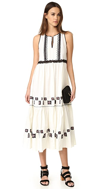 SUNO Cotton Leaf Maxi Dress