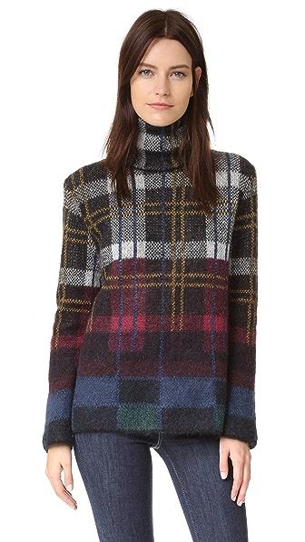 SUNO Plaid Mohair Turtleneck Sweater