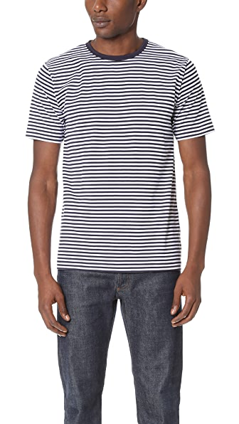 Sunspel Short Sleeve Striped Crew Neck Tee