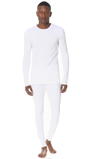 Sunspel Thermal Long Sleeve Crew Neck Shirt