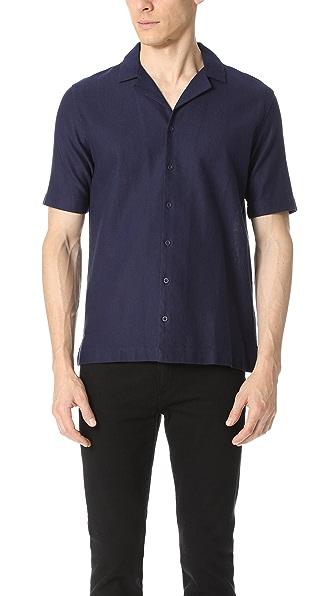 Sunspel Revere Collar Short Sleeve Camp Shirt
