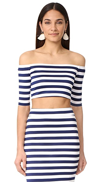 Susana Monaco Sabrina Off Shoulder Top - Inkwell/Sugar