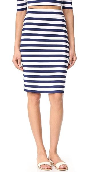 Susana Monaco Sachi Stripe Skirt In Inkwell/Sugar