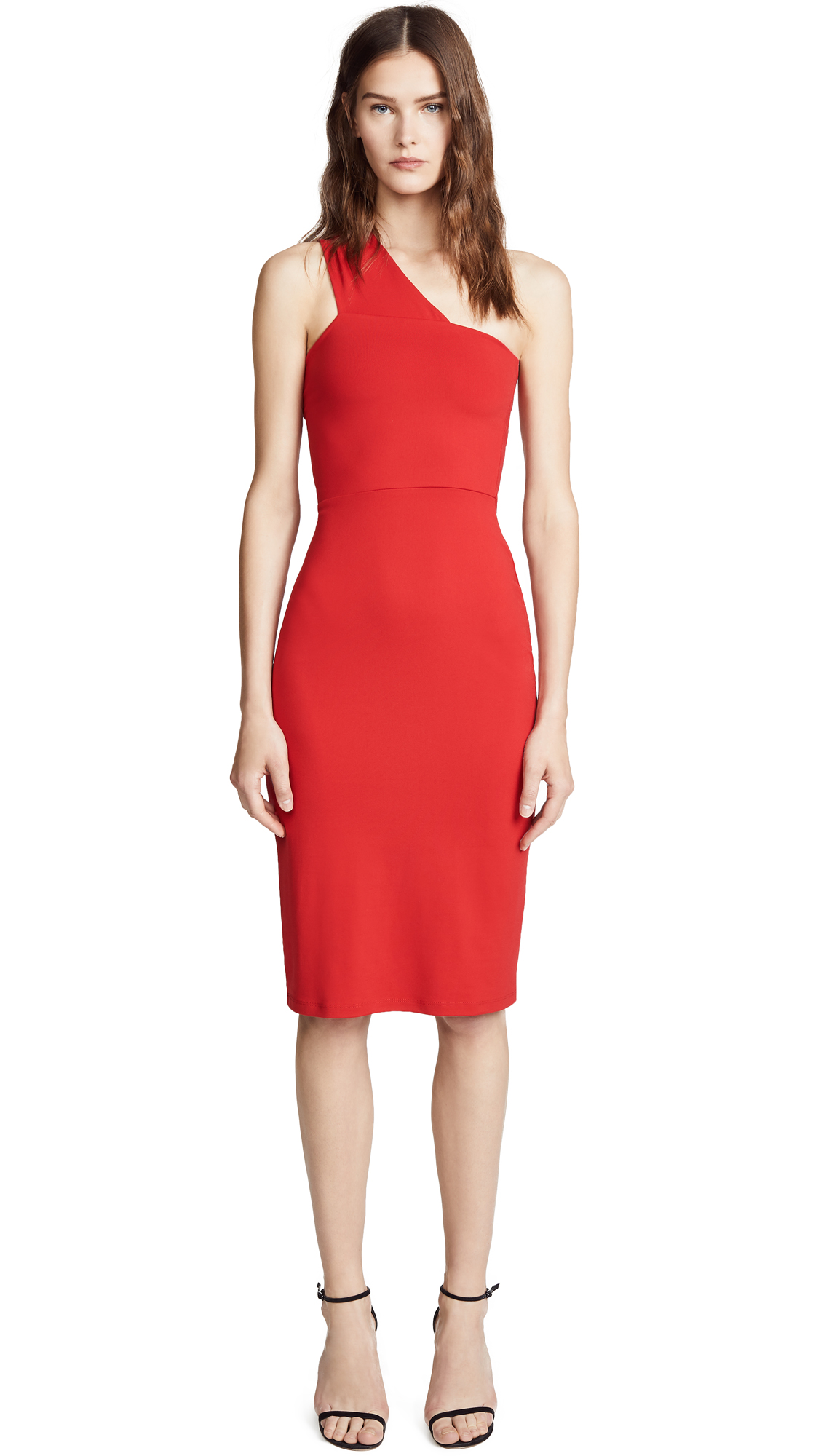 Susana Monaco Tina One Shoulder Dress - Perfect Red