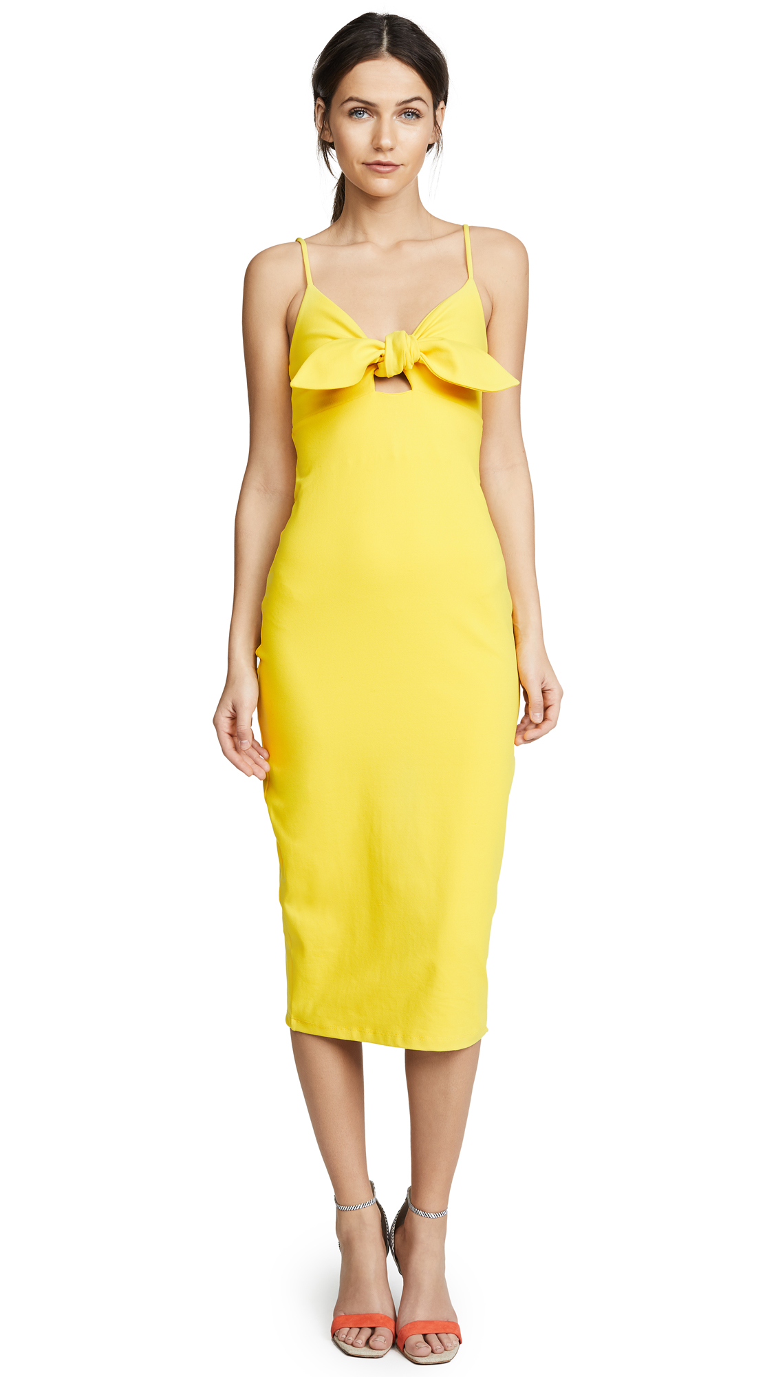 Susana Monaco Isadora Bow Detail Midi Dress In Limonata
