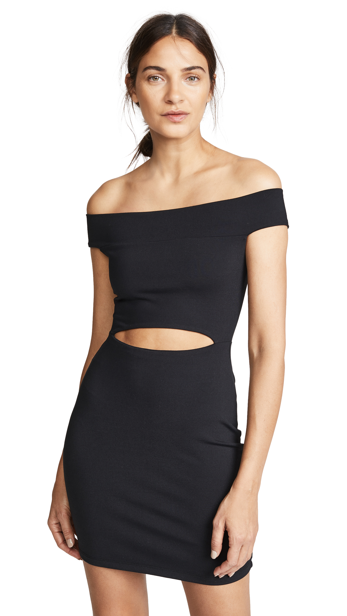 Susana Monaco Cutout Off the Shoulder Mini Dress In Black