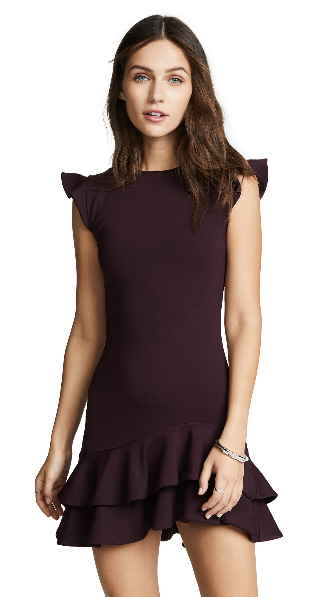 Susana Monaco Sleeveless Ruffle Hem Dress In Bordeaux