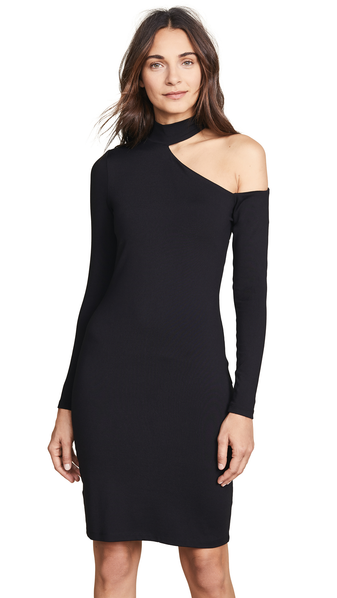Susana Monaco Open Shoulder Long Sleeve Dress In Black