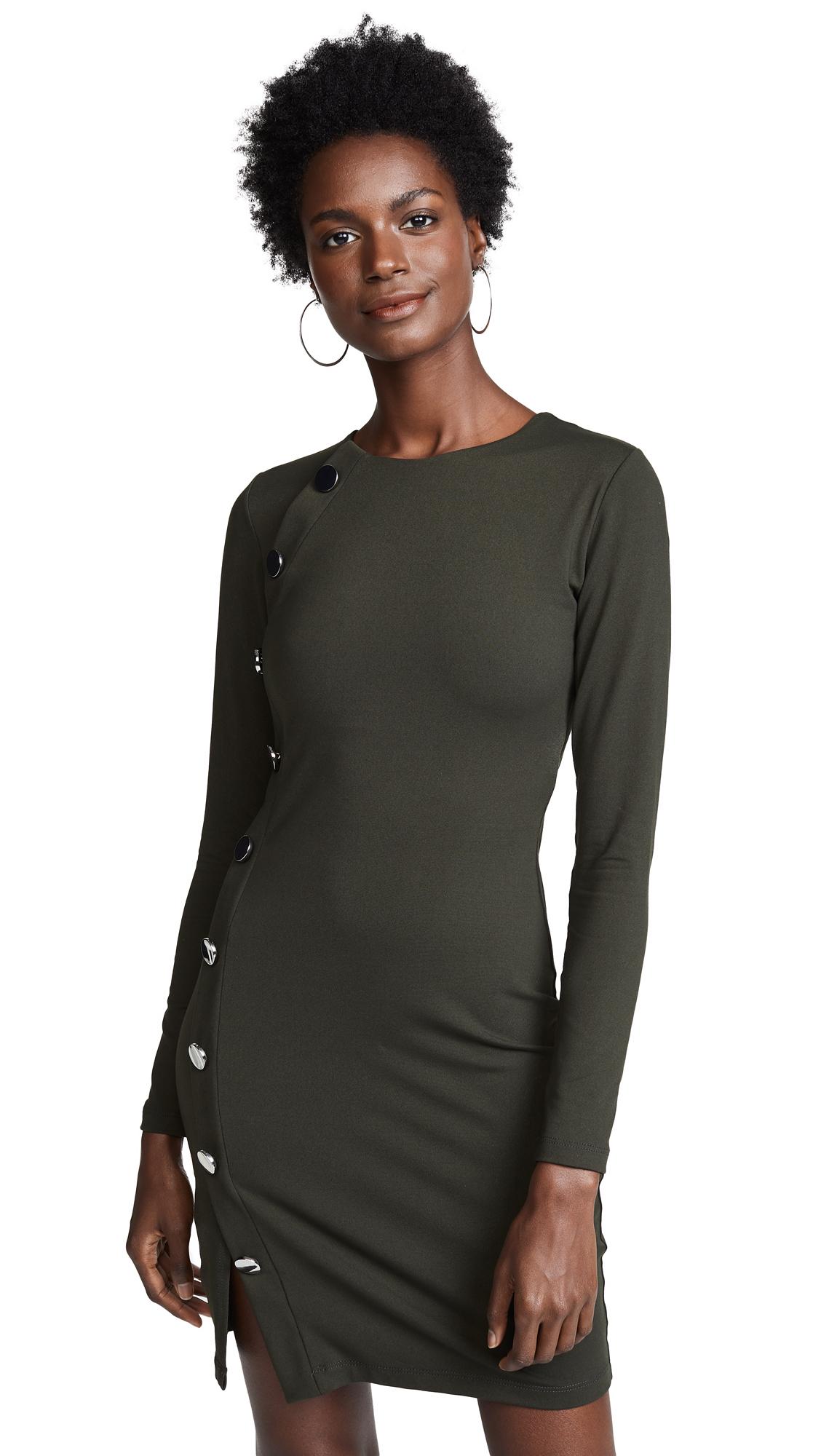 SUSANA MONACO Button Detail Dress in Hunter Green