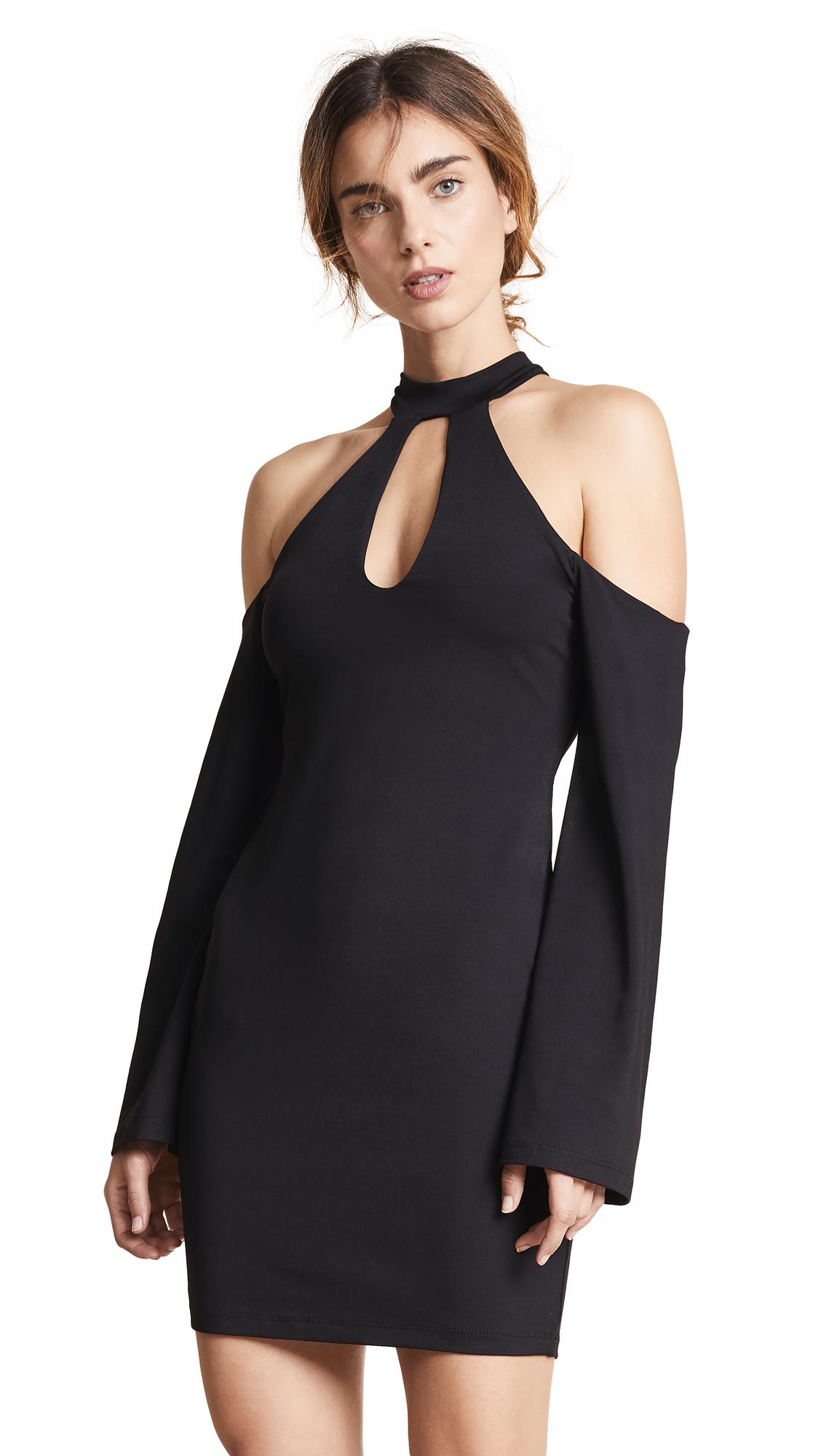 SUSANA MONACO Open Shoulder Cutout Dress in Black