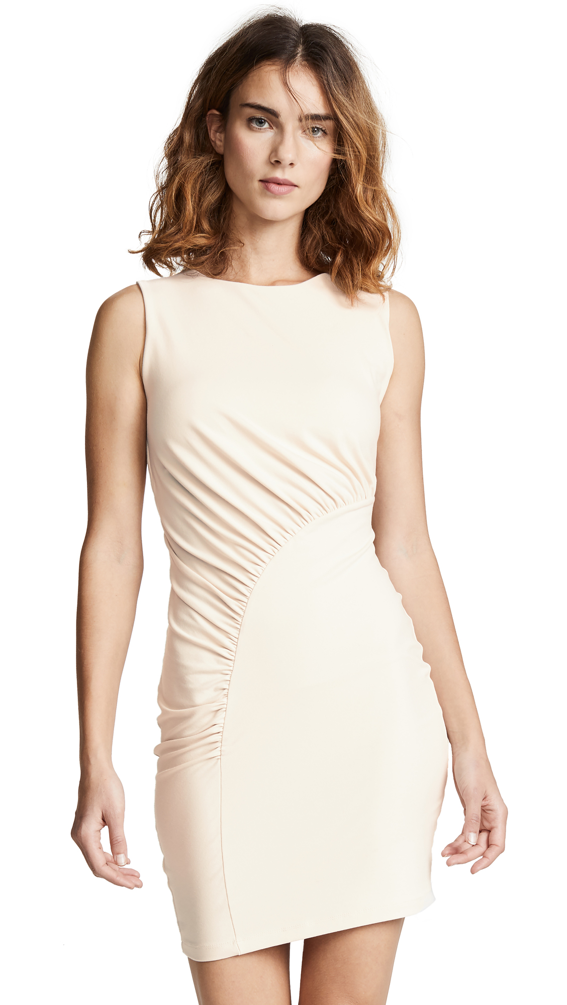 SUSANA MONACO Sleeveless Gathered Curve Dress in Blanched Almond