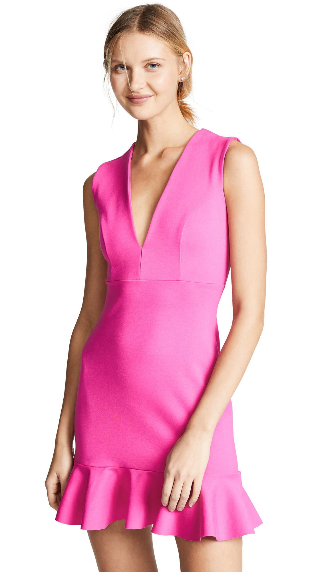 SUSANA MONACO Plunge Neck Ruffle Hem Dress in Hot Pink