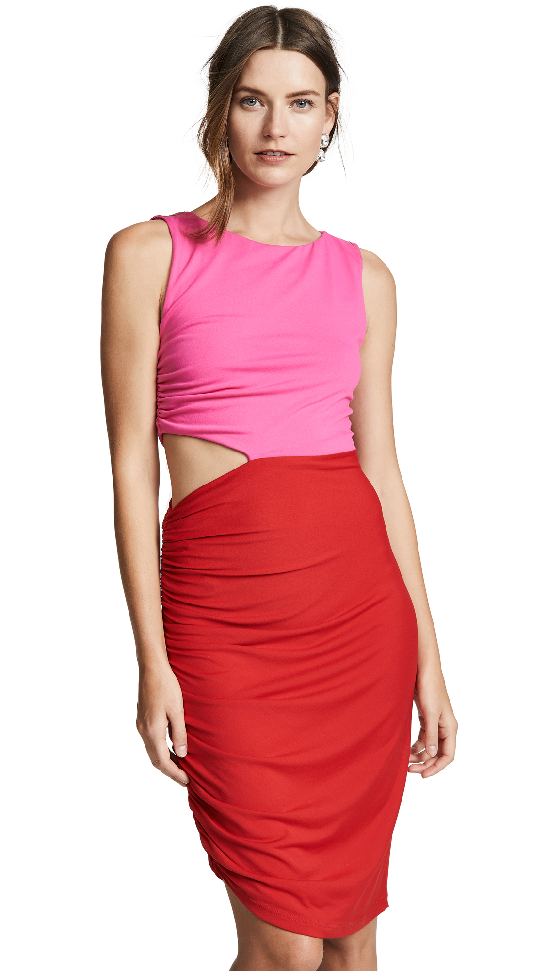 SUSANA MONACO Side Gathered Cutout Dress in Punch Pink/Perfect Red