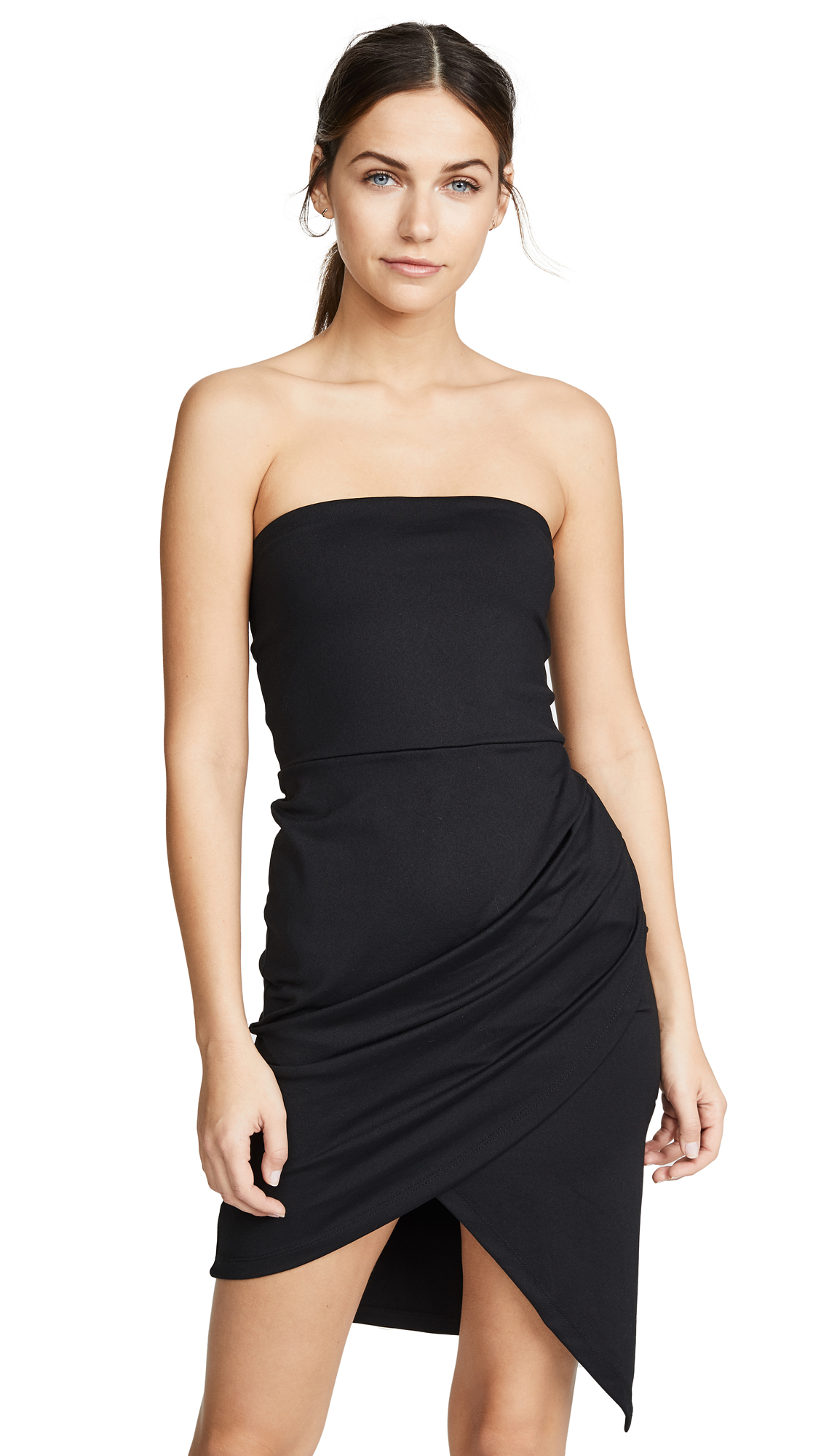 Susana Monaco Strapless Side Pleat Dress
