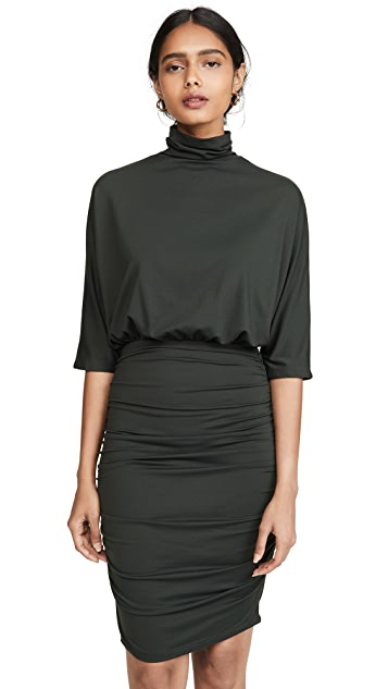 Susana Monaco Ruched Turtleneck Dolman Dress