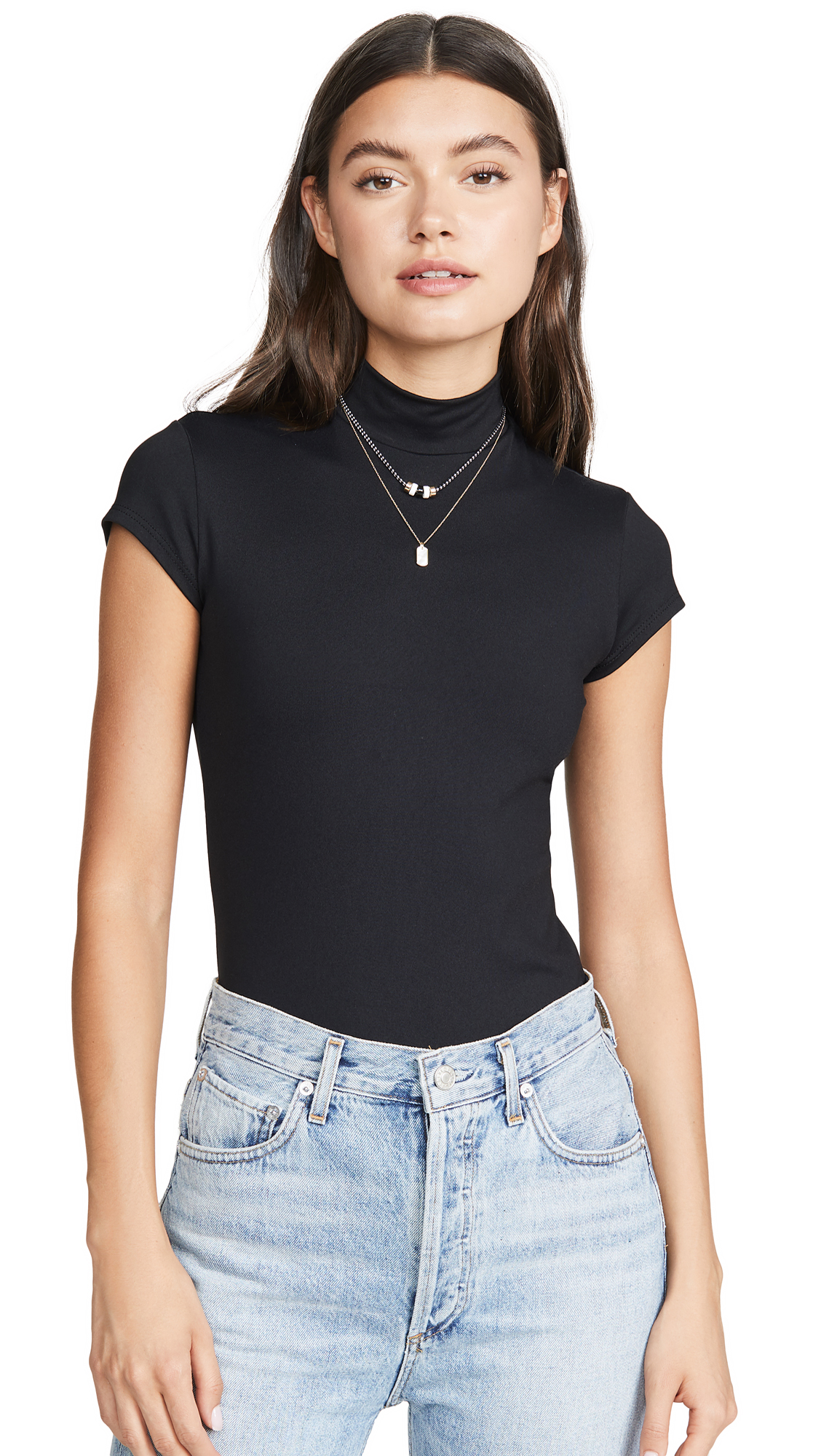 Susana Monaco Mock Neck Short Sleeve Tee